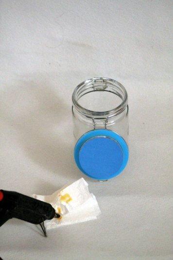 Leuchtglas Deckel ankleben